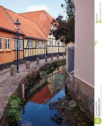 100 Small Beautiful Houses Typical Street With Old Denmark Stock Photo