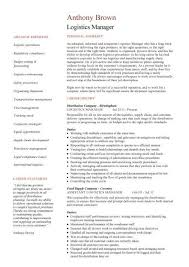 Logistics Manager CV Template Example Job Description Supply Chain Delivery Of Goods C