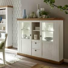 details zu highboard landhaus anrichte pinie weiß wotan eiche esszimmer kommode wohnzimmer