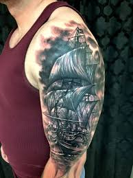 Amazing Black Sailor Ship Tattoo On Sleeve