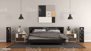 modernes schlafzimmer schwarz weiß stockfoto und mehr bilder architektur