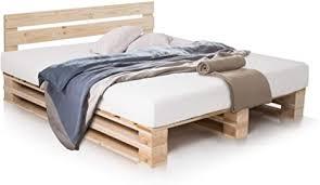 paletti palettenbett inklusive kopfteil massivholzbett holzbett bett aus paletten mit 11 leisten palettenmöbel 180 x 200 cm fichte natur