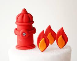 fondant firetruck cake topper set fondant hydrant