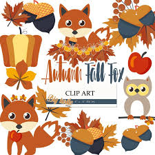 Fox autumn Clipart Fall Digital Clipart Autumn Clipart Fox Owl Autumn
