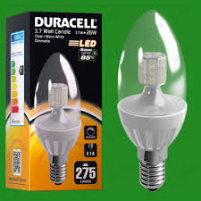 6x 3 7w dimmable duracell led clear candle instant on light bulb
