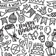 Happy birthday lettering and doodle seamless pattern Vector illustration on white background Funny pattern