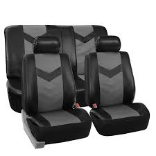 STek Shop: Complete PU Leather Car Seat Covers Set Gray Black For ... Blue Black Car Seat Covers With Headrest For Auto Truck Stek Shop Complete Pu Leather Set Gray For Bestfh Sedan Suv Van Luxury Floor Mats And Covers Cover Men Diamond 2pc Universal Bdk 4piece Scottsdale Fabric Front Saddle Blanket Unlimited 47 In X 23 1 Full Cloth Fit Camouflage Pickup Built In Belt Hq Issue Tactical Cartrucksuv 284676 Browning 284675 Ford By Clazzio