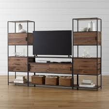 Crate And Barrel Slim Desk Lamp by Knox Media Console With 2 Tall Storage Bookcases Crate And Barrel
