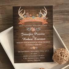 Rustic Wedding Invitations Wood Antler Flower Invites Ewi417 As Low 094