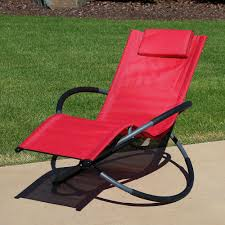 Sunnydaze Orbital Outdoor Folding Zero Gravity Rocking Lounger W/ Pillow,  Red