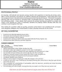 Primary Teacher CV Example In CV Examples