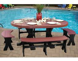 5 Piece Oval Dining Room Sets by Poly Lumber 5 Piece Oval Picnic Table With Benches