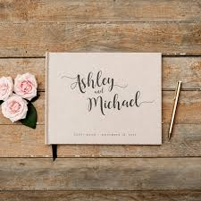 Wedding Guest Book Horizontal Landscape Rustic Kraft Guestbook Sign In Photo Booth Hardcover Personalized Planner