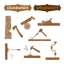 Vector Illustration Wood Work Hand Tools Silhouette Set With Shown Working Process And Sign Boards