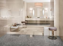 Coordinated Wall And Floor Tiles Evoking Venetian Terrazzo For From Flooring Modern Elegant Bathroom