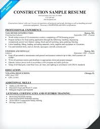 Resume Objective For Construction Worker Examples Sample Resumes