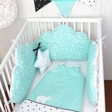 patron tour de lit bebe tour de lit bébé nuage et gigoteuse bleu aqua et gris clair 70 x
