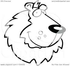 Lion Face Coloring Pictures Cartoon Of Black And White Handsome Vector Outlined Page Pages Full