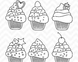 Cupcake Clipart Digital Stamps Line Art Cupcake Clip Art Birthday Clipart