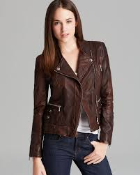 andrew marc leather jacket leandra in brown lyst