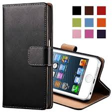 Genuine Leather Case for iPhone 5 5S SE Flip Wallet TOMKAS Stand