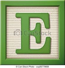 Close up look at 3d green letter block e vector clipart Search