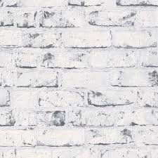9078 37 Grey White Distressed Vintage Painted Brick Effect Wall Wallpaper