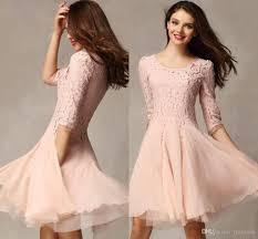 lace top pink homecoming dresses 3 4 sleeve scoop mini chiffon