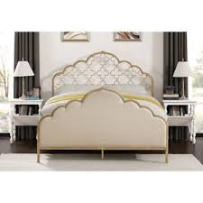 Queen Bed Frame Headboard French Victorian Cottage Boho Chic