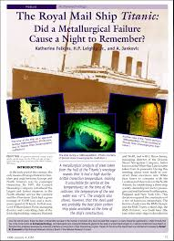 jom article on the titanic did a metallurgical failure cause a