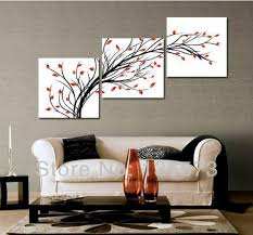 Modern Abstract Oil Painting Wall Pictures For Living Room New House Decoration Art Black Tree Red Leaf Decor 3 Panel No Framed