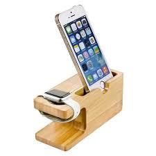 support telephone bureau cellulaire téléphone chargeur dock avec montre support en bambou