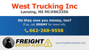100 West Trucking Inc Freight Broker Alert