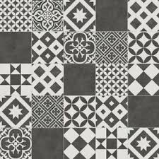 Image Is Loading Patchwork Design Sheet Vinyl Flooring Grey Tile Cushion