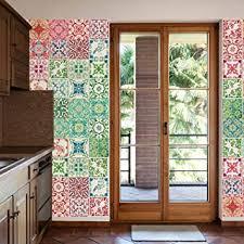 walplus entfernbarer selbstklebend wandkunst aufkleber vinyl wohndeko diy wohnzimmer schlafzimmer küche dekor tapete marokkanische rot grün mosaik