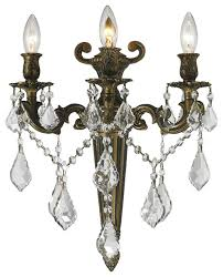 versailles 3 light torch candle wall sconce large
