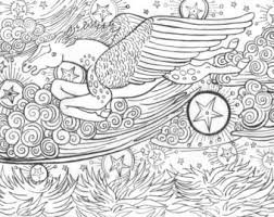 Coloring Book Page Winged Horse With Stars Printable Pdf