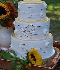 Rustic White Birch Wedding Cake