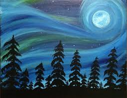 Osh Pasadena Christmas Trees by Northern Light Moonlight At The Wallace Gastropub Paint Nite