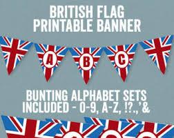 Printable British Bunting Banner Alphabet Theme Party Decor Union Jack Abc