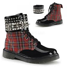 red plaid gothic biker punk ankle boots for women with studded cuff