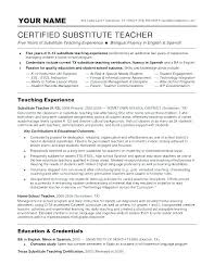 Resume Samples For Teaching Job Cover Letter Substitute Teacher Sample