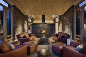 Living RoomImpressive Rustic Room Inspiration With Large Frame Glass Window And Brown Fabric