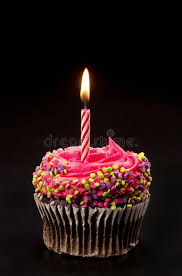 Download Chocolate Birthday Cupcake With e Candle Stock Image Image