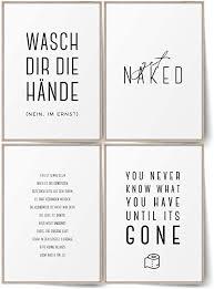 blckart badezimmer poster set stilvolle bad wandbilder mit sprüchen wc bilder deko ohne rahmen a4 ohne rahmen badezimmer set 01