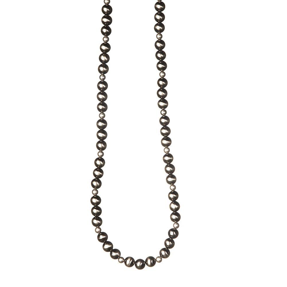 Jwest and Company Womens J West Single Strand Worn Bead Necklace - Silver