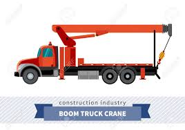 Boom Truck Crane Mounted On Truck. Side View Mobile Crane Isolated ...
