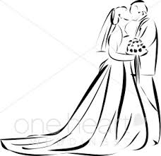 Wedding clipart outline 4