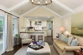 Open Plan Kitchen And Living Room Idea With Slanted Ceiling