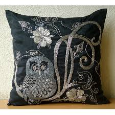 decorative pillow sham covers 24x24 embroidered accent black